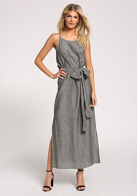 Charcoal Linen Slit Tie Front Maxi Dress