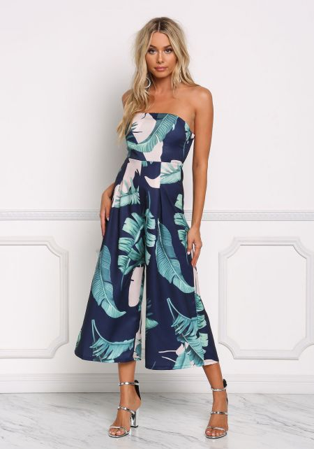 Navy Strapless Leaf Print Jumpsuit
