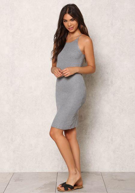 Grey Purl Knit Cami Racerback Dress