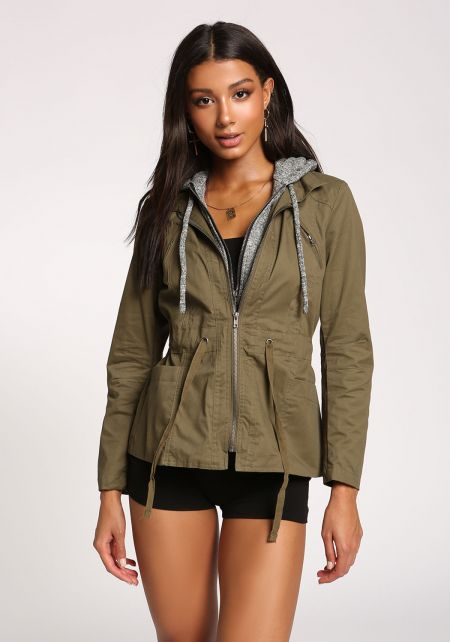 Olive Hooded Utility Jacket