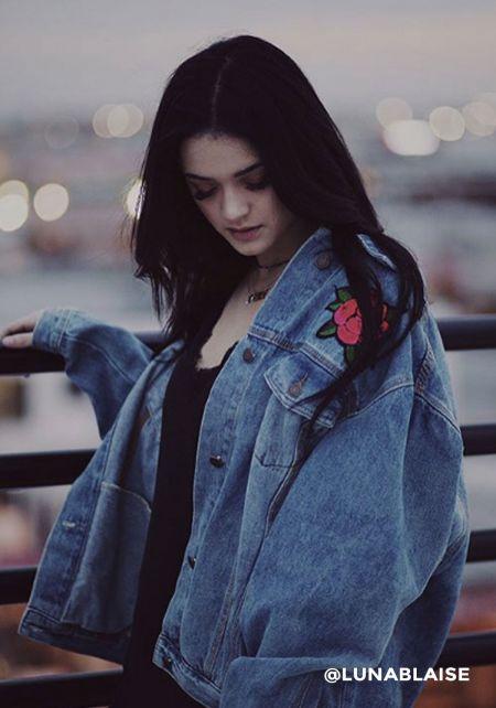 Denim Sequin Rose Jacket