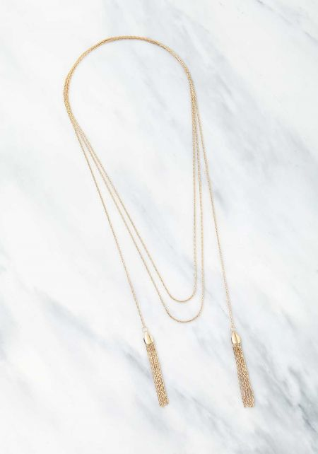Gold Wrap Around Tassel Necklace