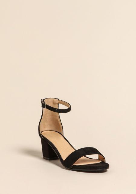 Black Short Ankle Strap Heels