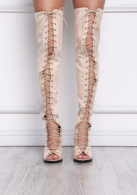 Nude Patent Lace Up Over The Knee Boots