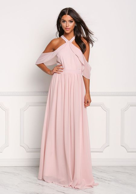 Tea Rose Chiffon Cold Shoulder Layered Maxi Gown