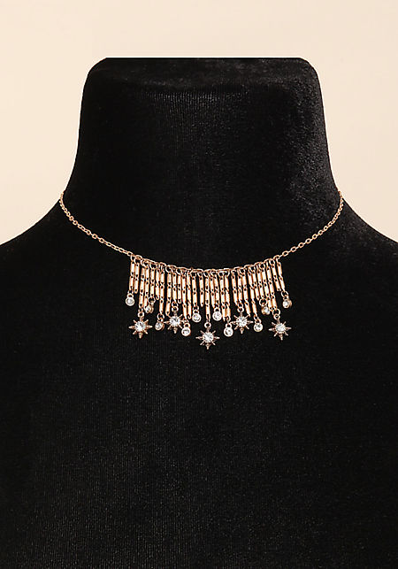 Gold Star Rhinestone Dangle Choker