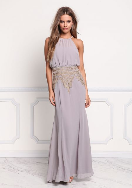 Light Grey Chiffon Embroidered Maxi Gown