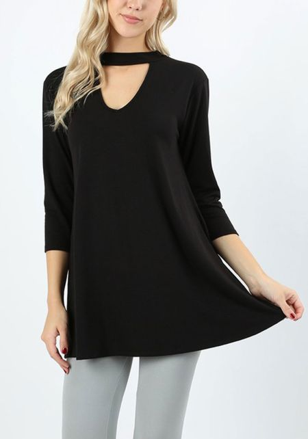 Black Jersey Knit Cut Out Pocket Top