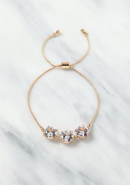 Gold Rhinestone Chain Bracelet
