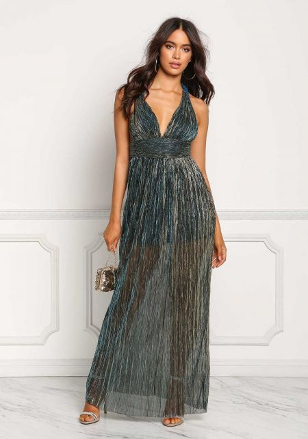 Teal Plunge Twisted Strap Metallic Maxi Dress