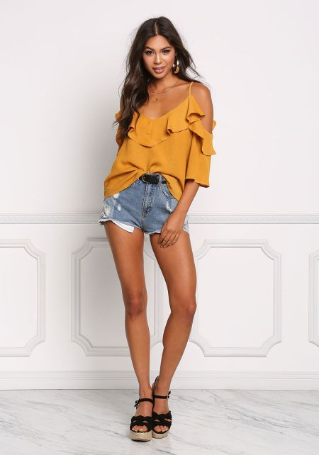 Mustard Crepe Cold Shoulder Ruffle Blouse