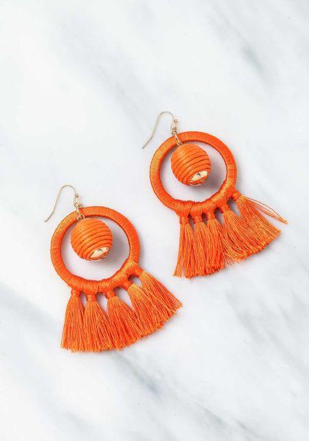Orange Short Tassel Earrings
