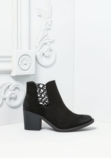 Black Suedette Caged Booties