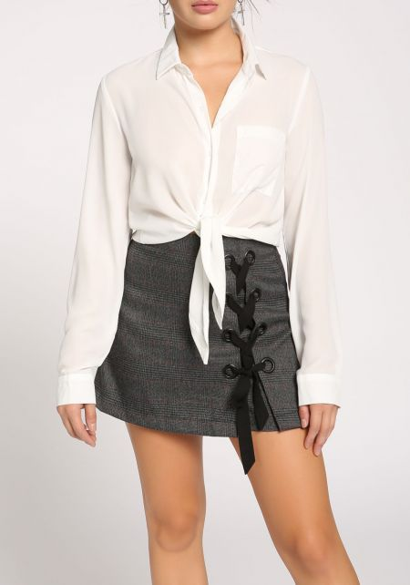 White Collared Tie Front Crop Top