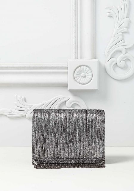 Silver Metallic Textured Flap Crossbody Bag
