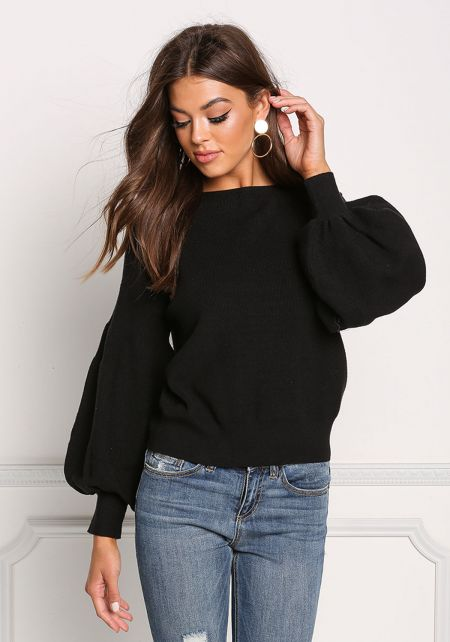 Black Ribbed Knit Puffy Sleeve Sweater Top