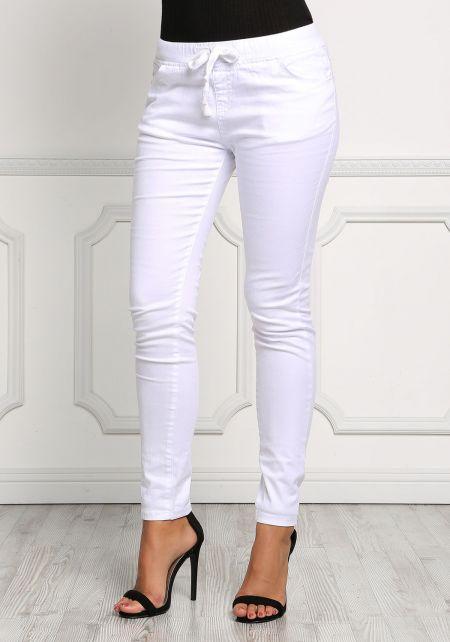 White Drawstring Skinny Jeans