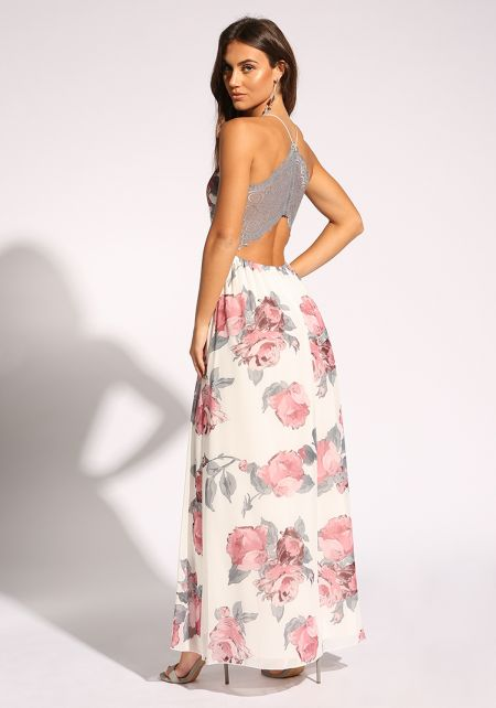 White Rose Lace Back Maxi Dress