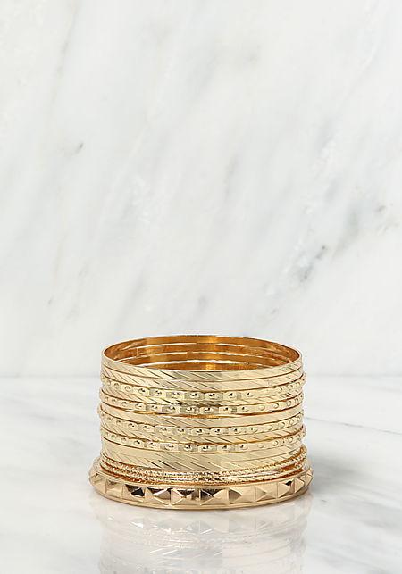 Gold Assorted Textured Bangle Bracelets Set