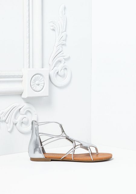 Silver Metallic Cut Out Sandals