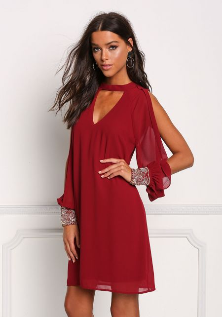 Wine Slit Beaded Sleeve Cut Out Shift Dress