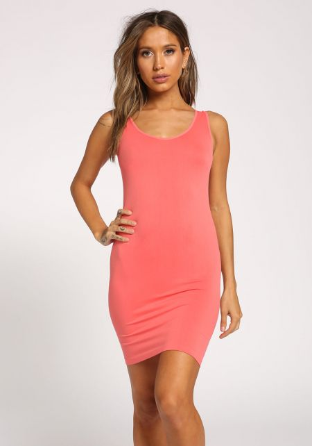 Coral Scoop Seamless Tank Dress