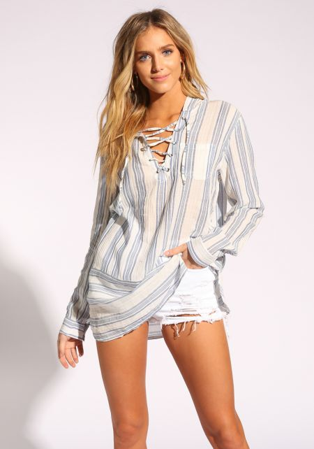 White and Navy Hooded Lace Up Tunic Blouse