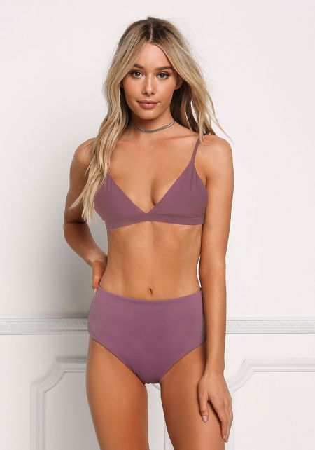 Purple High Rise Swimsuit Bikini Bottoms
