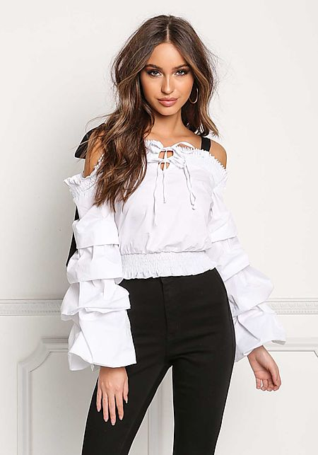 White Tiered Bell Sleeve Shoulder Tie Blouse
