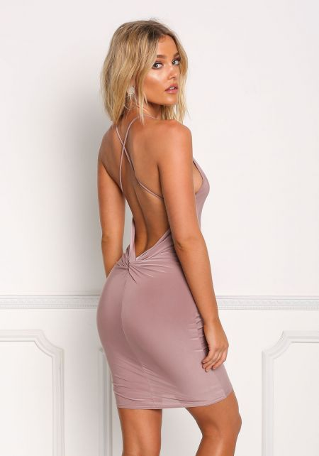 Mauve Low Back Cross Strap Bodycon Dress