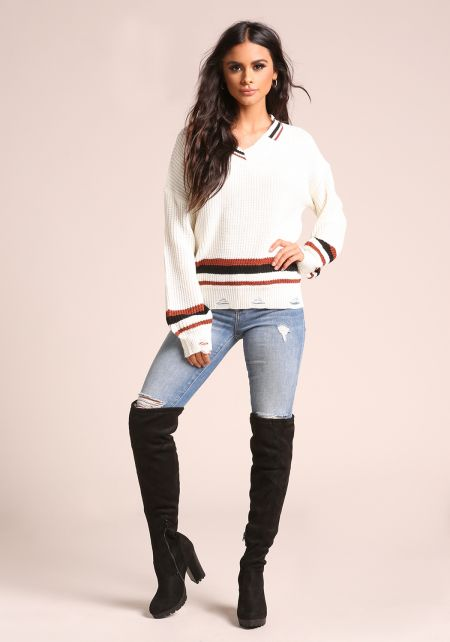 Ivory Stripe Distressed V Neck Sweater Top