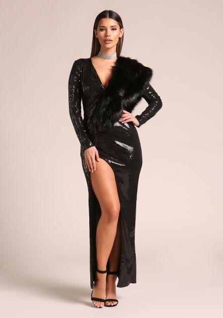 Black Sequin High Slit Maxi Gown