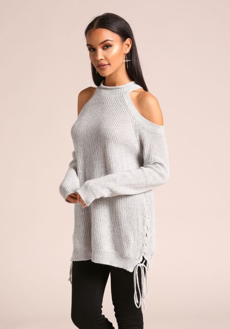 Grey Cold Shoulder Side Lace Up Sweater Top