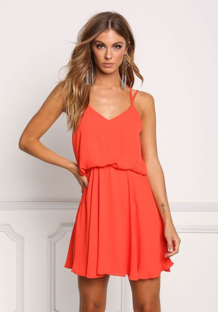 Coral Double Strap Flared Dress