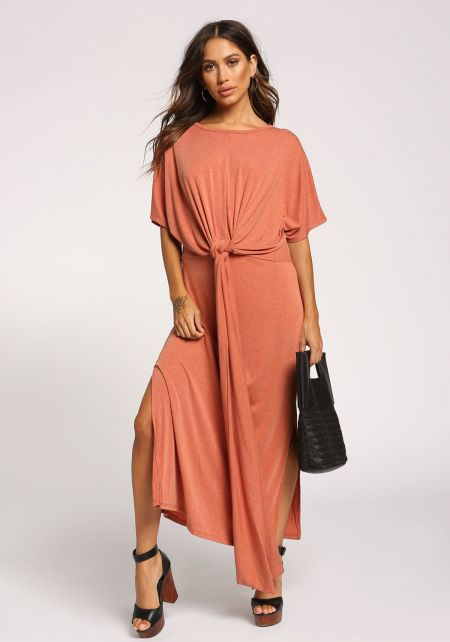 Rust Knotted Drape Slit Maxi Dress