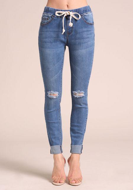 Blue Drawstring Cuffed Skinny Jeans