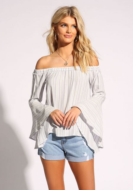 Light Blue Pinstripe Bell Sleeve Blouse