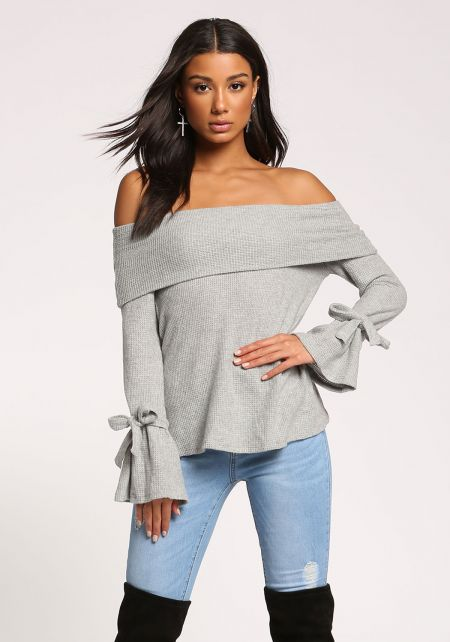 Heather Grey Off Shoulder Bell Sleeve Thermal Knit