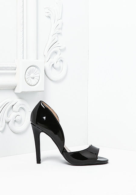 Black Patent Leatherette Open Toe Heels