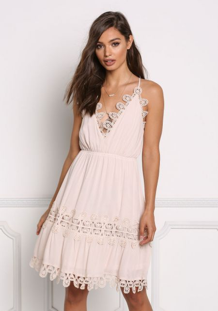 Blush Crochet Trim Cross Strap Dress