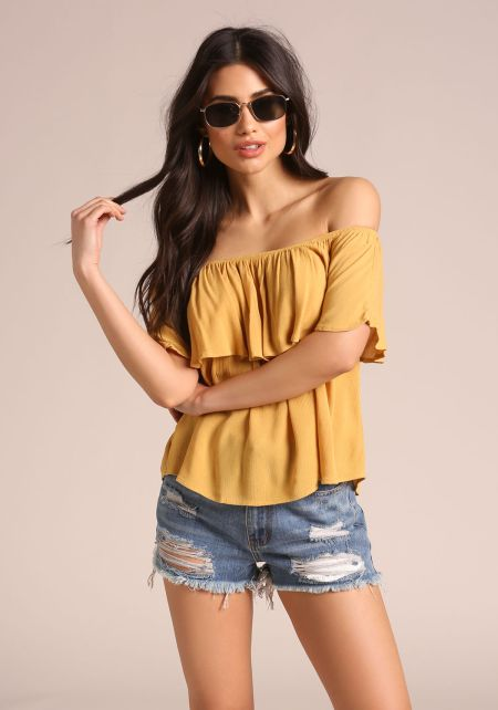 Mustard Crepe Off Shoulder Blouse