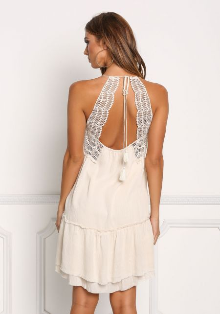 Beige Crepe Tiered Crochet Trim Shift Dress