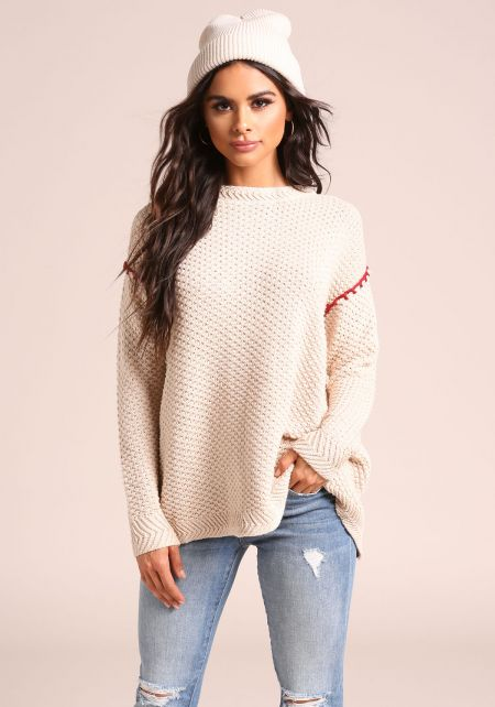 Beige Open Slit Back Knit Sweater Top