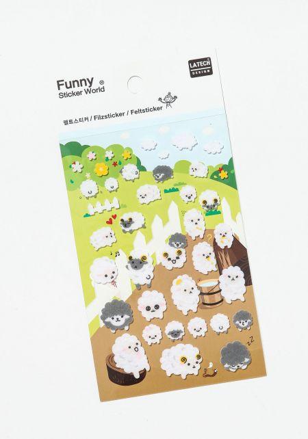 White Sheep Felt Stickers