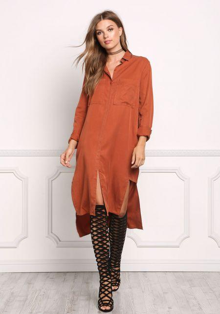 Rust Collared Longlined Hi-Lo Shirt Dress