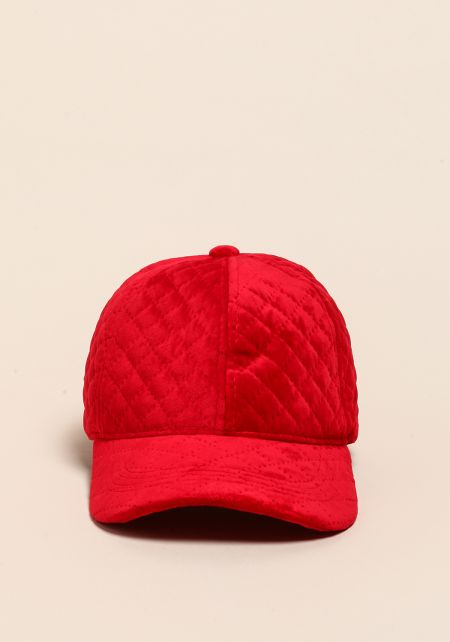 Red Quilted Velvet Dad Hat