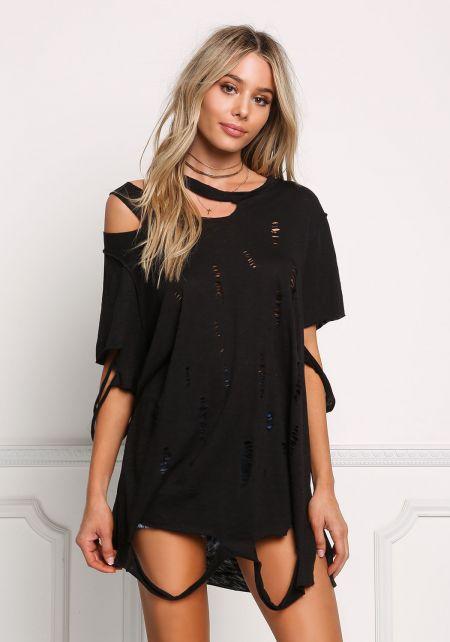 Black Long Distressed Knit Tee
