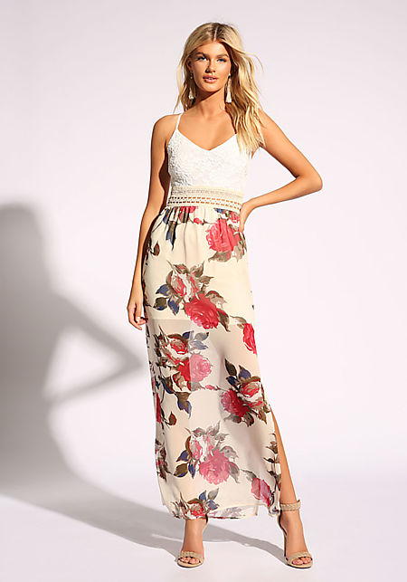 9f526754165 Ivory Crochet Cross Strap Slit Maxi Dress ...