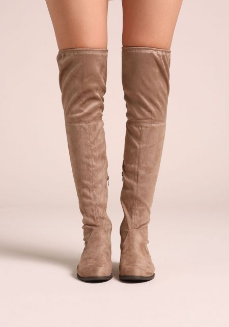 Beige Suedette Over The Knee Short Heel Boots