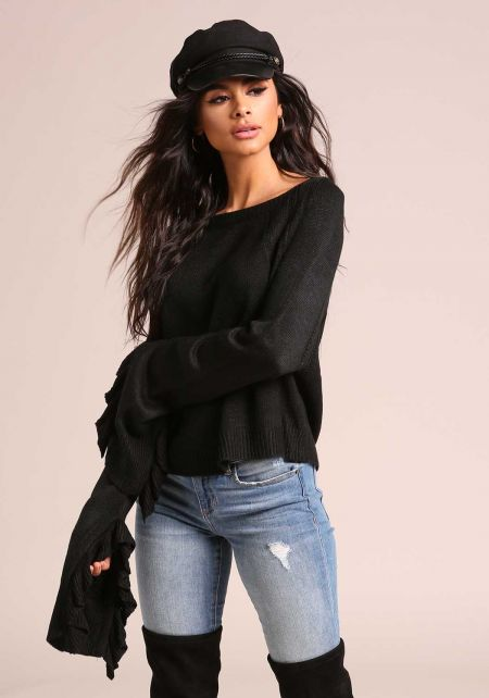 Black Ruffle Bell Sleeve Knit Sweater Top
